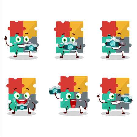 Photographer profession emoticon with puzzle cartoon character