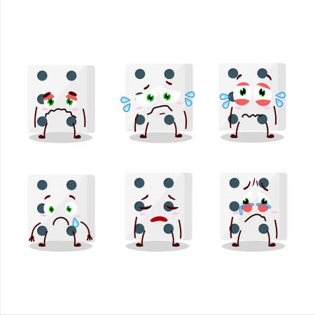 White dice cartoon character with sad expression Illustration