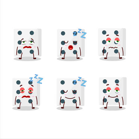 Cartoon character of white dice with sleepy expression