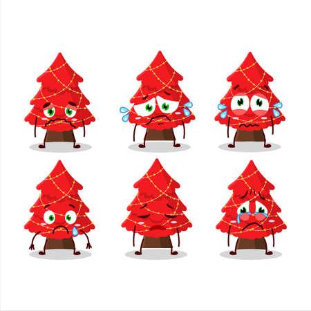 Red christmas tree cartoon character with sad expression