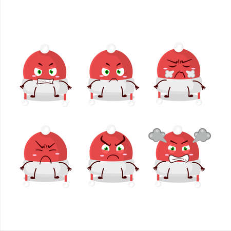 Christmas hat cartoon character with various angry expressions