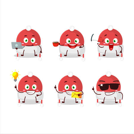 Christmas hat cartoon character with various types of business emoticons