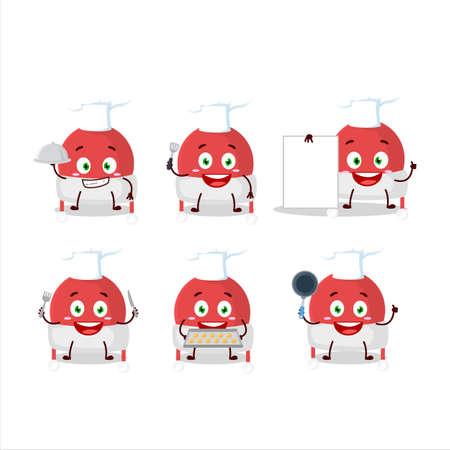 Cartoon character of christmas hat with various chef emoticons Illusztráció