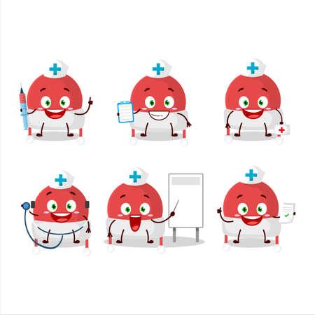 Doctor profession emoticon with christmas hat cartoon character Illusztráció
