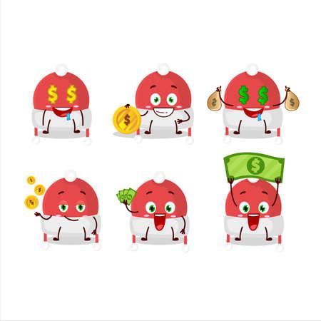 Christmas hat cartoon character with cute emoticon bring money Illusztráció