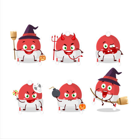 Halloween expression emoticons with cartoon character of christmas hat