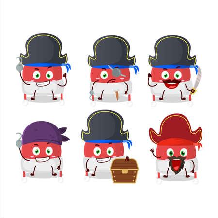 Cartoon character of christmas hat with various pirates emoticons Illusztráció