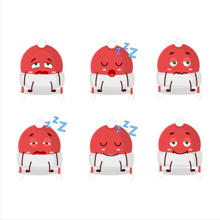 Cartoon character of christmas hat with sleepy expression