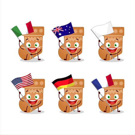 Socks cookie cartoon character bring the flags of various countries