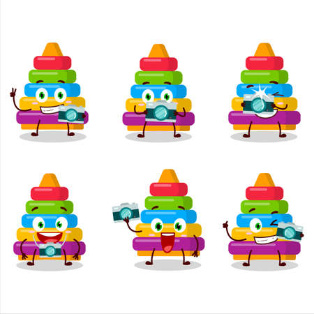 Photographer profession emoticon with pyramid block toys cartoon character