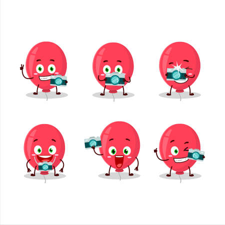 Photographer profession emoticon with red balloon cartoon character.Vector illustration