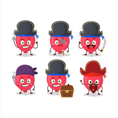 Cartoon character of red balloon with various pirates emoticons.Vector illustration Ilustracja
