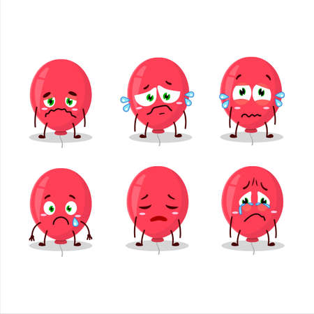 Red balloon cartoon character with sad expression.Vector illustration