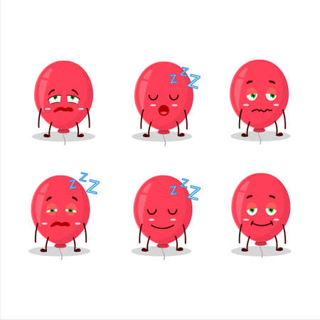 Cartoon character of red balloon with sleepy expression.Vector illustration