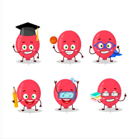 School student of red balloon cartoon character with various expressions.Vector illustration