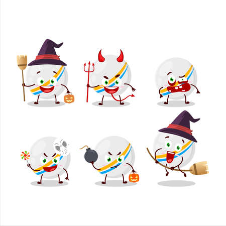 Halloween expression emoticons with cartoon character of white stripes marbles.Vector illustration