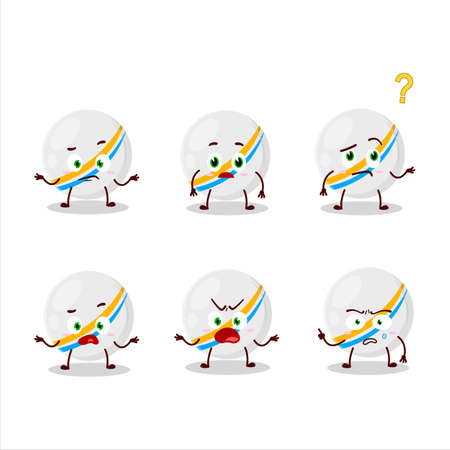 Cartoon character of white stripes marbles with what expression.Vector illustration Ilustracja
