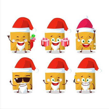 Santa Claus emoticons with yellow dice cartoon character.Vector illustration