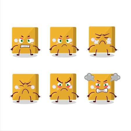 Yellow dice cartoon character with various angry expressions.Vector illustration