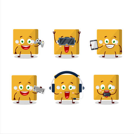Yellow dice cartoon character are playing games with various cute emoticons.Vector illustration Ilustracja