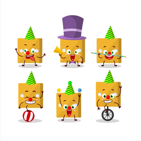 Cartoon character of yellow dice with various circus shows.Vector illustration