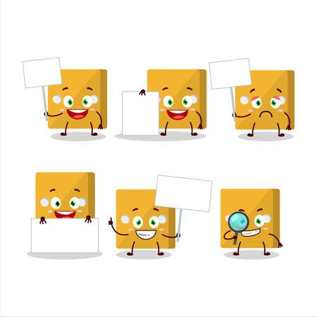 Yellow dice cartoon character bring information board.Vector illustration