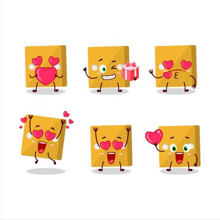 Yellow dice cartoon character with love cute emoticon.Vector illustration Ilustracja