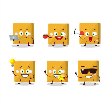Yellow dice cartoon character with various types of business emoticons.Vector illustration