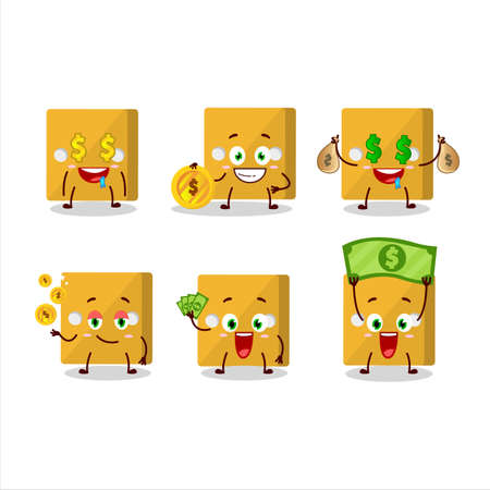 Yellow dice cartoon character with cute emoticon bring money.Vector illustration