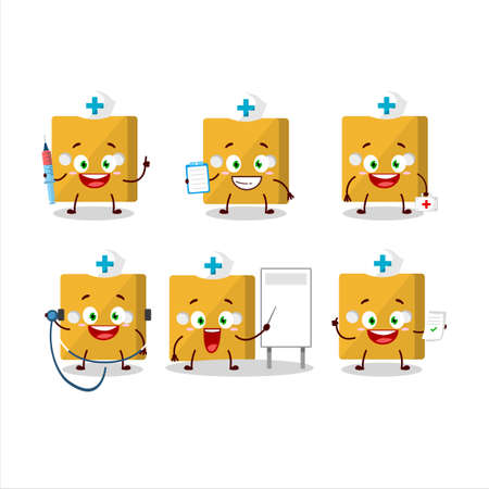 Doctor profession emoticon with yellow dice cartoon character.Vector illustration
