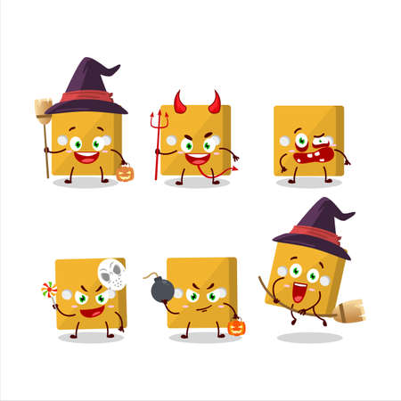 Halloween expression emoticons with cartoon character of yellow dice.Vector illustration Çizim