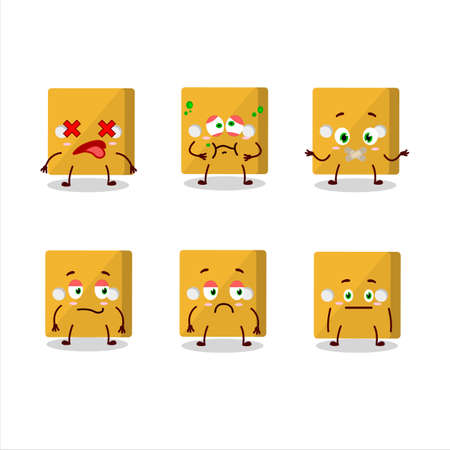 Yellow dice cartoon character with nope expression.Vector illustration