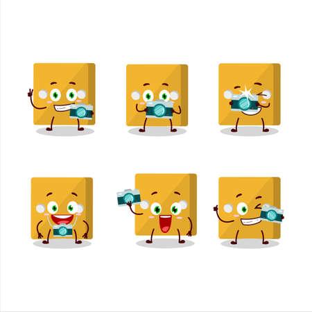 Photographer profession emoticon with yellow dice cartoon character.Vector illustration Çizim