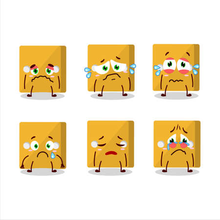 Yellow dice cartoon character with sad expression.Vector illustration
