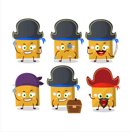 Cartoon character of yellow dice with various pirates emoticons.Vector illustration Çizim