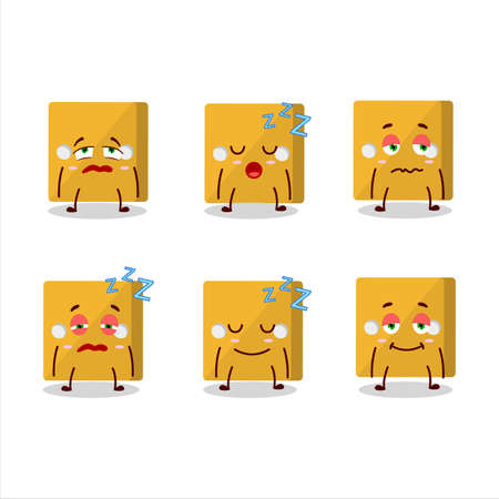 Cartoon character of yellow dice with sleepy expression.Vector illustration