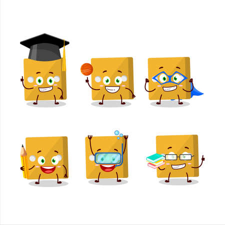 School student of yellow dice cartoon character with various expressions.Vector illustration
