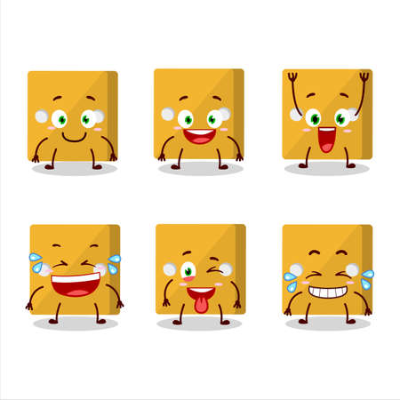 Cartoon character of yellow dice with smile expression.Vector illustration Çizim