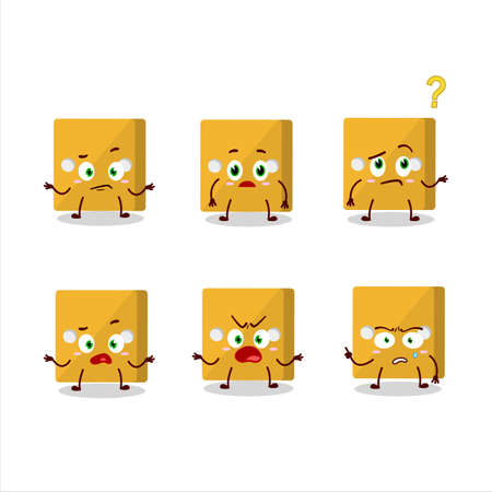 Cartoon character of yellow dice with what expression.Vector illustration