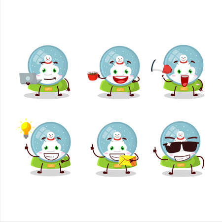 Snowball with snowman cartoon character with various types of business emoticons Ilustracja