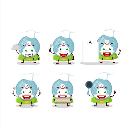 Cartoon character of snowball with snowman with various chef emoticons Ilustracja