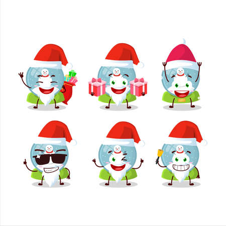Santa Claus emoticons with snowball with snowman cartoon character