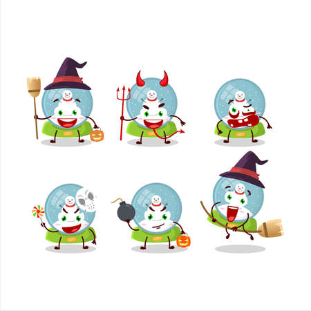 Halloween expression emoticons with cartoon character of snowball with snowman Ilustracja