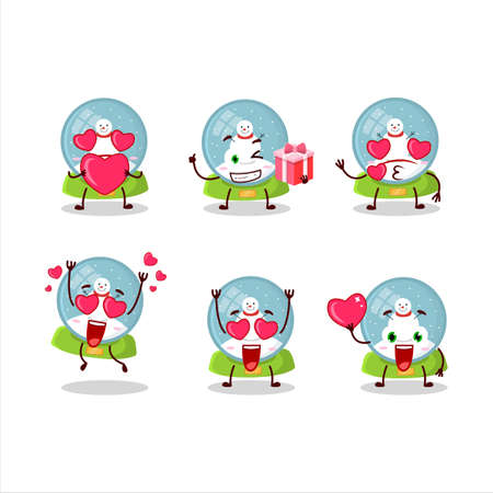 Snowball with snowman cartoon character with love cute emoticon
