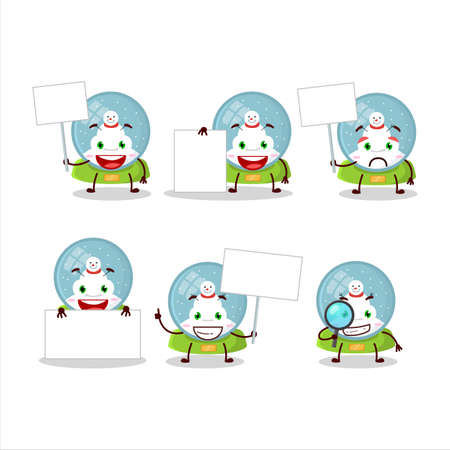 Snowball with snowman cartoon character bring information board