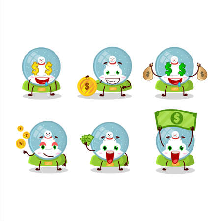 Snowball with snowman cartoon character with cute emoticon bring money Ilustracja