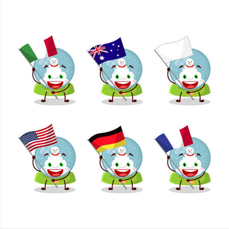 Snowball with snowman cartoon character bring the flags of various countries