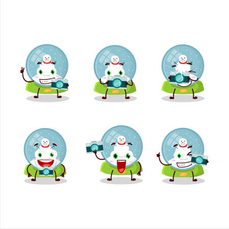 Photographer profession emoticon with snowball with snowman cartoon character