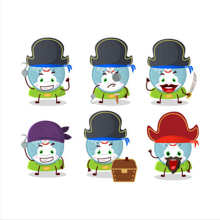 Cartoon character of snowball with snowman with various pirates emoticons