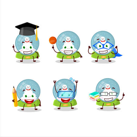 School student of snowball with snowman cartoon character with various expressions Ilustracja
